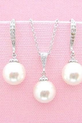 Bridal Pearl Earrings & Necklace Gift Set Wedding Jewelry Swarovski 10mm Pearl Bridesmaid Gift Mother of Bride Bridal Party Gifts (E004)