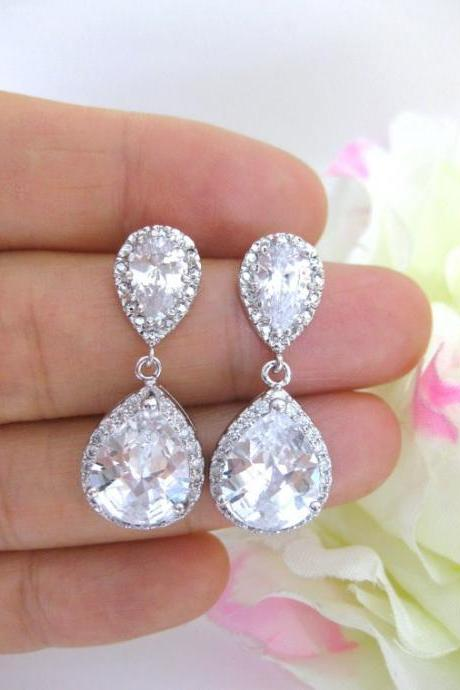 Lux Cubic Zirconia Earrings White Gold Teardrop Earrings Bridal Drop Earrings Wedding Jewelry Bridesmaid Gift White Gift for Her (E033)
