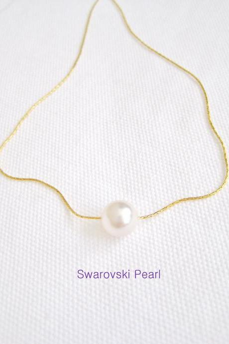 Bridal Single Pearl Necklace Wedding Jewelry Swarovski 8mm or 10mm Round Pearl Bridesmaid Gift Minimalist Necklace Gold Necklace (N027)