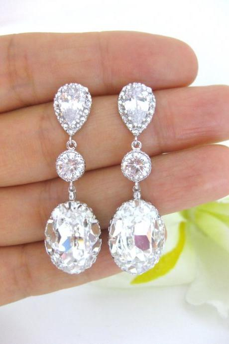 Bridal Crystal Teardrop Earrings Swarovski Oval Teardrop Earrings Wedding Jewelry Bridesmaids Gift Drop Dangle Earrings (E175)