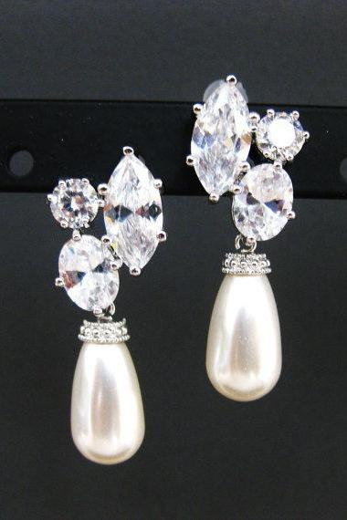 Bridal Teardrop Pearl Earrings Cubic Zirconia Stud Swarovski Teardrop Pearl Wedding Jewelry Bridesmaid Gift Dangle Drop Earrings (E071)