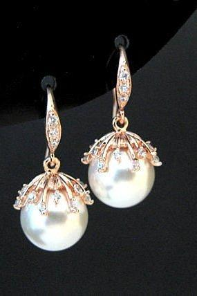 Bridal Pearl Earrings Swarovski 10mm Round Pearl White Gold Earrings Flower Cup Earrings Earrings Wedding Jewelry Bridesmaid Gift (E301)