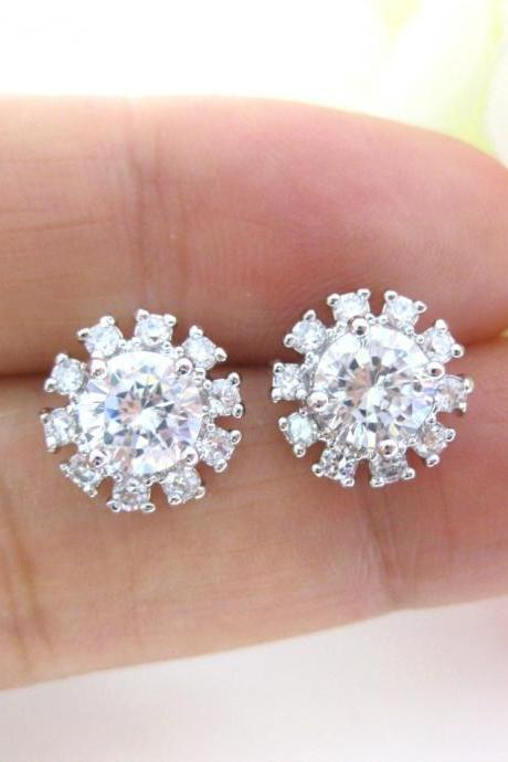 Crystal Stud Earrings Bridal Sunburst Cubic Zirconia Earrings Wedding Jewelry Bridesmaids Gift Birthday Gift Simple Dainty Jewelry (E109)
