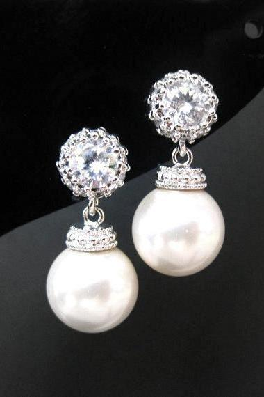 Bridal Pearl Earrings Swarovski 10mm Round Pearl Cubic Zirconia Earrings Wedding Jewelry Bridesmaid Gift Bridal Drop Dangle Earrings (E095)