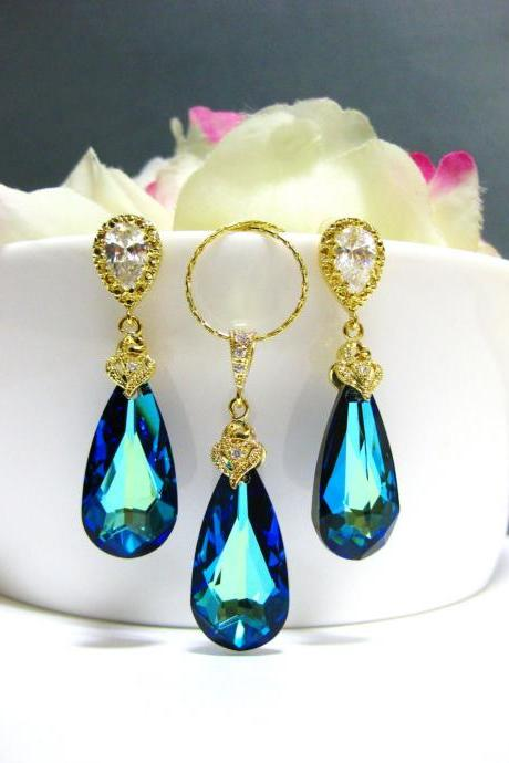 Bermuda Blue Earrings & Necklace Gift Set Swarovski Crystal Teardrop Gold Jewelry Bridesmaid Gift Bridal Drop Earrings (NE003)