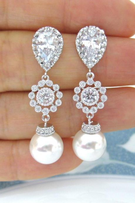 Bridal Pearl Earrings Swarovski Round 10mm Pearl Wedding Jewelry Bridesmaid Gift Cubic Zirconia Earrings Silver Floral Earrings (E113)