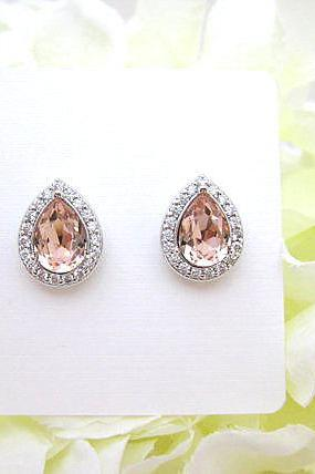 Swarovski Vintage Rose Teardrop Stud Earrings Light Peach Earrings Champagne Crystal Earrings Wedding Jewelry White Gold Earrings (E303)