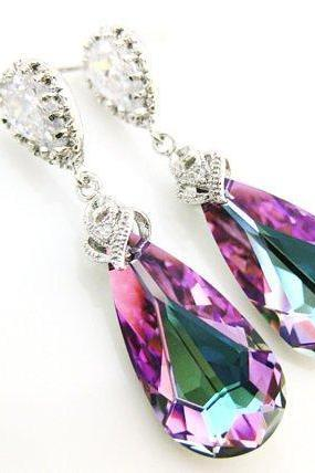 Swarovski Crystal Vitrail Light Teardrop Earrings Purple Earrings Bridesmaid Gift Wedding Jewelry Bridal Earrings Silver Earrings (E028)