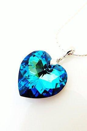 Swarovski Bermuda Blue Heart Crystal Pendant Necklace Bridal Necklace Wedding Jewelry Bridesmaid Gift Valentine's Day Something Blue (N058)