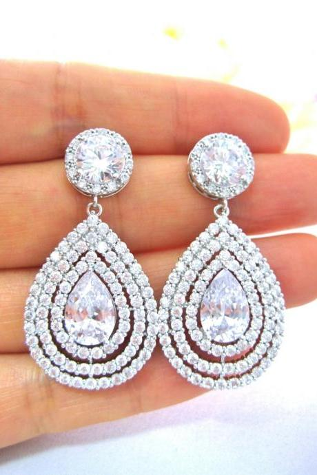 Bridal Earrings Teardrop Earrings Halo Style Earrings Cubic Zirconia Earrings Wedding Jewelry Bridesmaid Gift Multi-Stone Earrings (E219)
