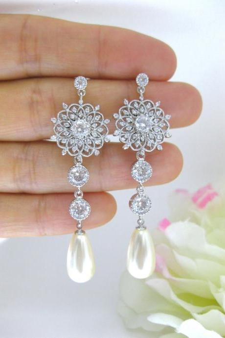 Bridal Long Earrings Wedding Jewelry Swarovski Crystal Teardrop Pearl Earrings Vintage Style Earrings Chandelier Earrings (E137)