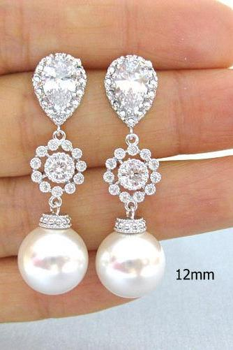 Bridal Pearl Earrings Wedding Jewelry Swarovski 12mm Pearl Bridesmaids Gift Bridal Chandelier Earrings with Pearls(E113)