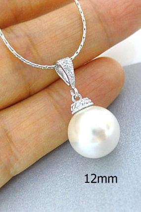 Bridal Pearl Necklace Swarovski 12mm Round Pearl Necklace Pearls Drop Necklace Bridesmaid Necklace Wedding Jewelry Bridesmaid Gift (N049)