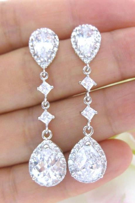 Cubic Zirconia Teardrop Earrings Bridal Drop Dangle Earrings Wedding Jewelry Bridesmaids Gift Sparky Earrings (E188)