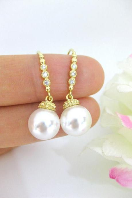 Bridal Pearl Earrings Wedding Pearl Earrings Swarovski 10mm Pearl Gold Earrings Wedding Jewelry Bridesmaid Gift Dangle Drop Earrings (E132)