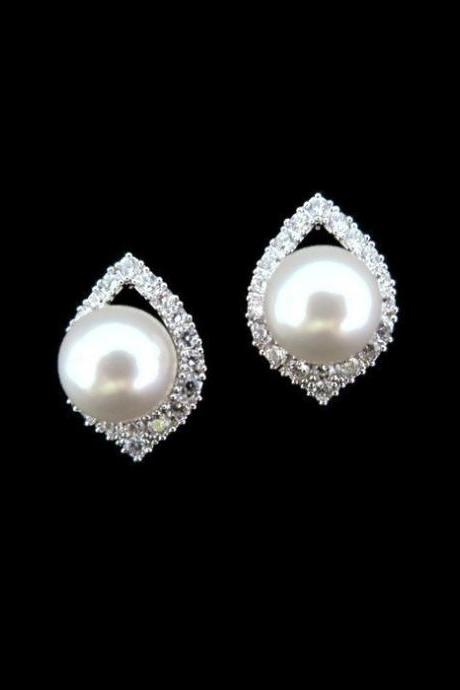 Bridal Pearl Earrings Lux Cubic Zirconia Teardrop Stud Earrings Swarovski 8mm Pearl Wedding Jewelry Bridesmaids Gift Sparky Earrings (E186)