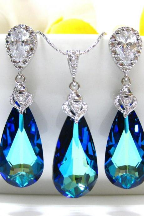 Bermuda Blue Swarovski Teardrop & Earrings Necklace Set Bridal Blue Jewelry Bridesmaid Gift Swarovski Crystal Wedding Jewelry (NE003)