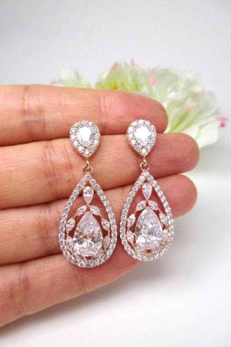 Crystal Bridal Earrings in Rose Gold, Clear Cubic Zirconia Teardrop Earrings, Wedding Jewelry Chandelier Earrings Bridesmaid Gift (E207)