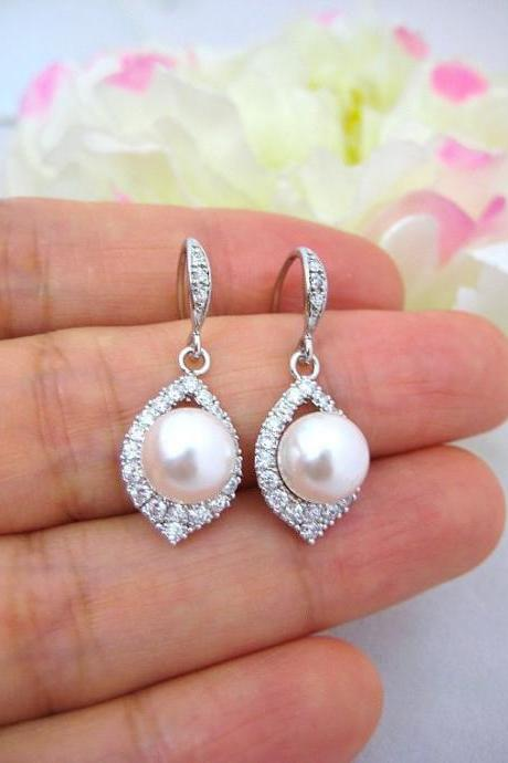 Bridal Pearl Earrings Silver Wedding Necklace Jewelry Cubic Zirconia Teardrop Earrings Swarovski 8mm Pearl Bridesmaids Gift (E186)