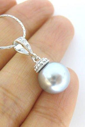 Bridal Light Grey Pearl Necklace Single Pearl Pendant Swarovski 10mm Pearl Cubic Zirconia Necklace Wedding Jewelry Bridesmaids Gift (N038)