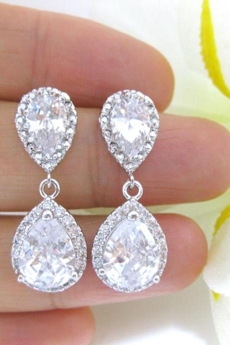 Bridal Teardrop Earrings Wedding Jewelry Lux Cubic Zirconia Earrings Crystal Teardrop Earrings Bridesmaid Gift Dangle Drop Earrings (E125)