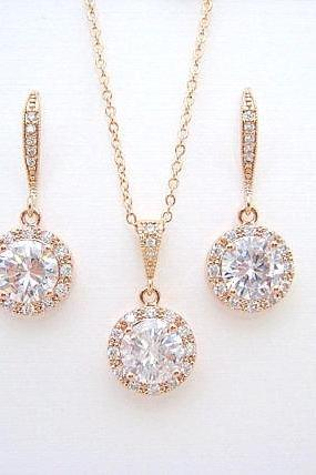 Rose Gold Crystal Earrings & Necklace Gift Set Cubic Zirconia Halo Earrings Bridal Earrings Vintage Button Earrings Wedding Jewelry (E304)