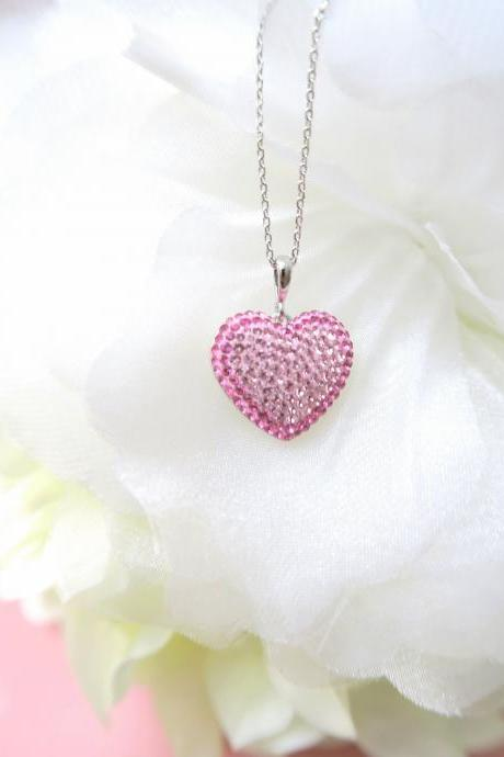 Pink Heart Crystal Charm Necklace Swarovski BeCharmed Pave Heart Crystal Valentine's Day Gift Birthday Gift Mother's Day Gift (N042)