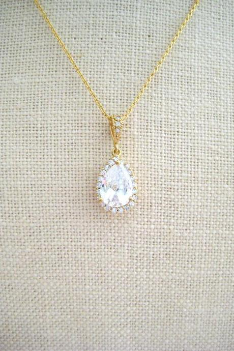 Bridal Crystal Teardrop Necklace Gold Clear Cubic Zirconia Wedding Pendant Charm Necklace Diamond Look Necklace Bridesmaid Gift (N010)