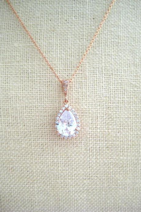 Bridal Crystal Teardrop Necklace Rose Gold Clear Cubic Zirconia Wedding Pendant Necklace Diamond Look Sparky Necklace Bridesmaid Gift (N010)
