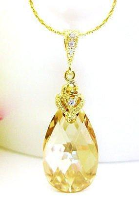 Golden Shadow Teardrop Necklace Swarovski Champagne Teardrop Crystal Wedding Jewelry Bridal Necklace Bridesmaids Gift Gold Necklace (N006)