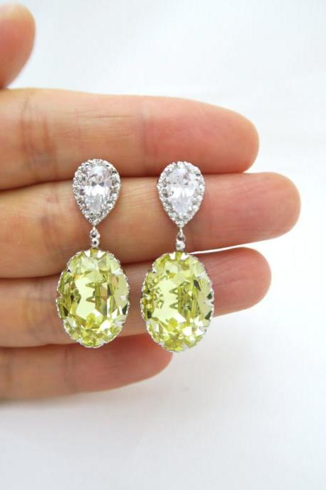 Light Yellow Earrings Swarovski Oval Jonquil Crystal Earrings Wedding Jewelry Bridesmaid Gift Bridal Earrings Bridesmaid Earrings (E184)