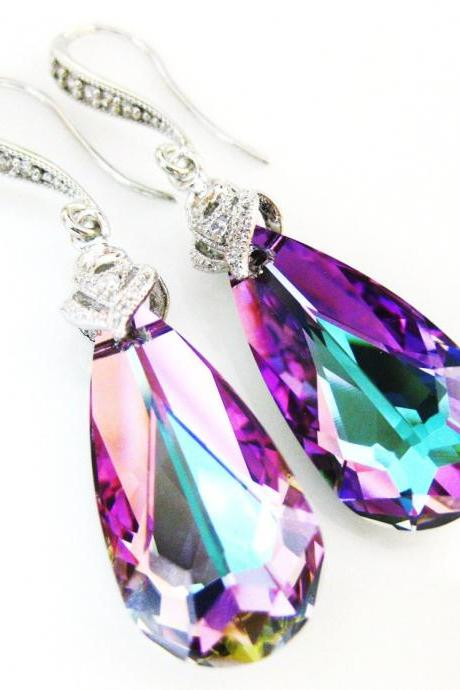 Purple Crystal Earrings Swarovski Vitrail Light Crystal Teardrop Earrings Bridesmaid Gift Wedding Jewelry Bridal Drop Earrings (E025)