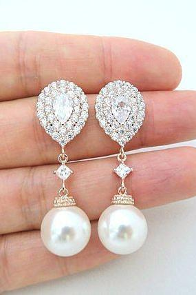 Pearl Bridal Earrings Rose Gold Cubic Zirconia Teardrop Earrings Swarovski 12mm Pearl Halo Style Wedding Earrings Bridesmaid Gift (E217)