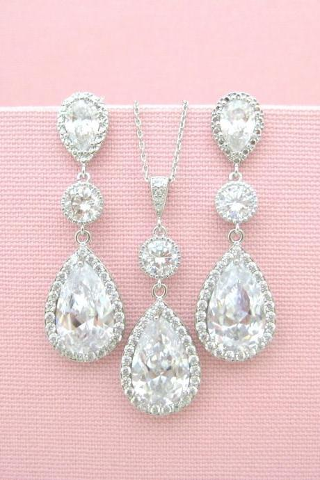 Bridal Clear Crystal Earrings Lux Cubic Zirconia Teardrop Earrings Bridesmaid Gift Wedding Jewelry Set Long Bridal Earrings (E006)