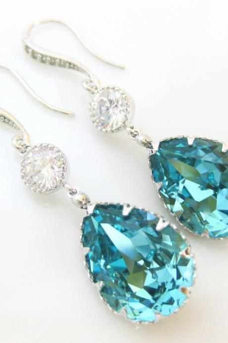 Teal Blue Earrings Swarovski Crystal Light Turquoise Earrings Blue Earrings Wedding Earrings Bridal Earrings Bridesmaid Gift (E134)