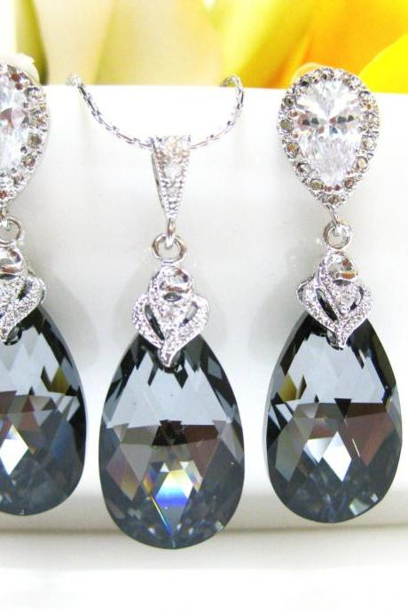 Swarovski Silver Night Black Crystal Teardrop Earrings & Necklace Bridal Jewelry Wedding Jewelry Bridesmaids Gift Charcoal Jewelry (NE011)
