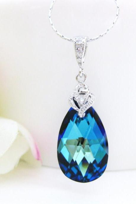 Bermuda Blue Swarovski Crystal Teardrop Necklace Wedding Jewelry Bridal Teardrop Necklace Bridesmaid Gift Blue Crystal Necklace (N035)