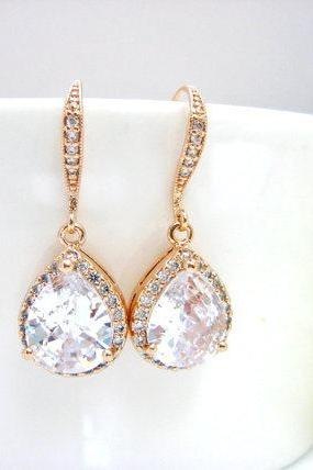 Bridal Cubic Zirconia Earrings Rose Gold Earrings Bridal Crystal Earrings Wedding Jewelry Bridesmaid Gift Sparky Earrings (E032)