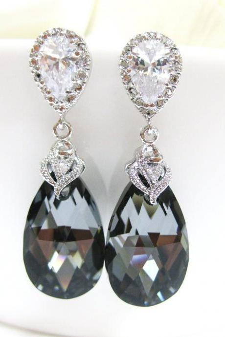 Silver Night Black Swarovski Crystal Tear Drop Earrings Wedding Bridesmaid Earrings Bridal Jewelry Sterling Silver Ear Posts (E015)