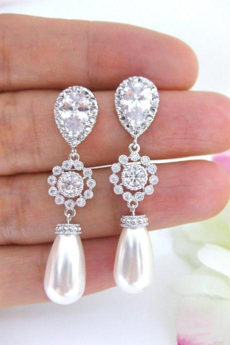 Pearl Bridal Earrings Wedding Jewelry Swarovski Teardrop Pearl Bridesmaid Gift Cubic Zirconia Earrings Long Bridal Earrings (E114)