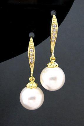 Bridal Pearl Earrings Swarovski 10mm Round Pearl Gold Earrings Wedding Jewelry Bridesmaid Gift Ear hooks Drop Earrings (E004)