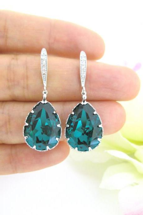Emerald Green Earrings Swarovski Crystal Teardrop Earrings Wedding Jewelry Bridal Earrings Bridesmaid Gift Drop Earrings (E135)
