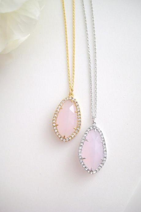 Cloudy Light Pink Teardrop Necklace Crystal Charm Necklace Pink Wedding Necklace Bridesmaids Gift Birthday Gift Valentine's Day (N013)