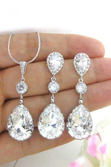 Bridal Crystal Earrings Swarovski Clear White Crystal Teardrop Earrings Wedding Jewelry Bridesmaid Gift Bridal Bridal Long Earrings (E063)