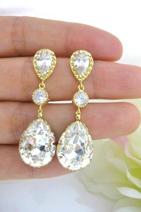 Bridal Crystal Earrings Swarovski Clear Crystal Teardrop Earrings Wedding Jewelry Bridesmaid Gift Bridal Long Bridal Earrings (E063)