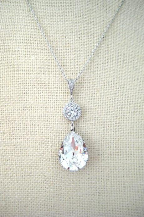 Bridal Crystal Necklace Swarovski Clear White Crystal Teardrop Necklace Wedding Jewelry Bridesmaid Gift Bridal Long Necklace(N142)