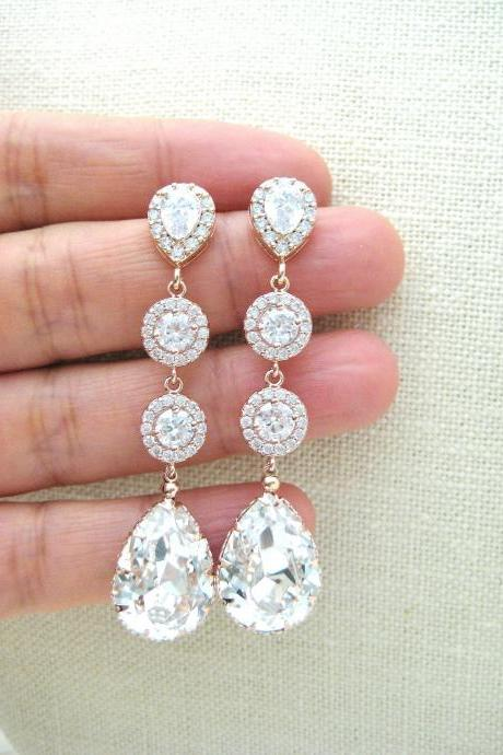Bridal Crystal Earrings Rose Gold Swarovski Clear White Crystal Teardrop Earrings Wedding Long Dangle Earrings Bridesmaid Gift (E142)