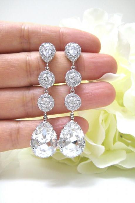 Bridal Crystal Earrings Swarovski Clear White Crystal Teardrop Earrings Wedding Jewelry Bridesmaid Gift Bridal Long Earrings(E142)