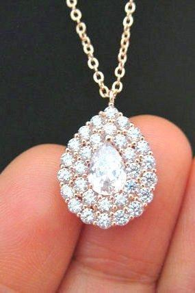 Crystal Teardrop Necklace in Rose Gold, Cubic Zirconia Multi-Stone Halo Necklace, Wedding Pendant Jewelry, Bridesmaid Gift (N062)