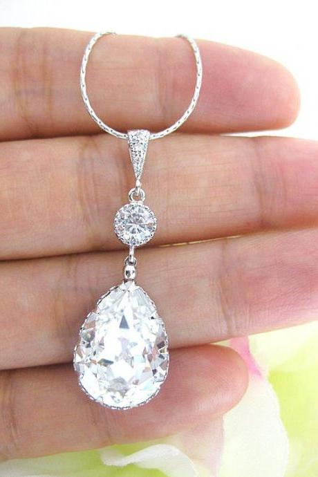 Bridal Teardrop Necklace Swarovski Crystal Clear White Teardrop Necklace Wedding Necklace Bridesmaid Gift Rhinestone Necklace (N024)